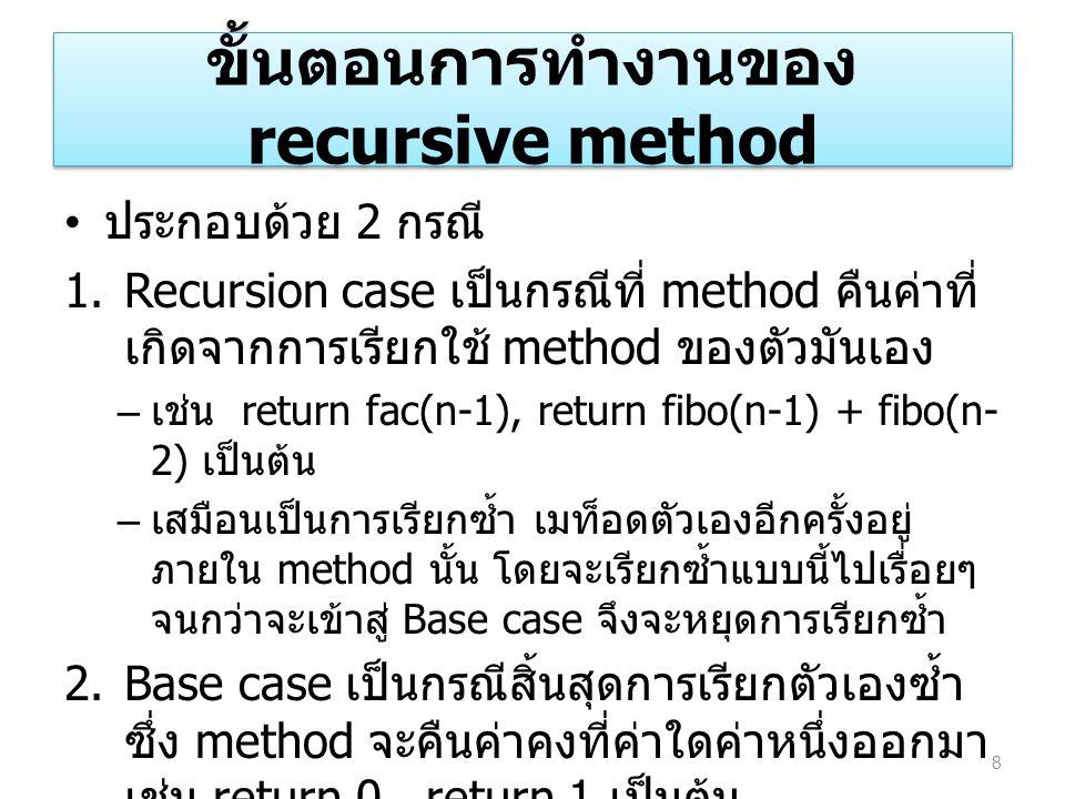 ขั้นตอนการทำงานของ recursive method