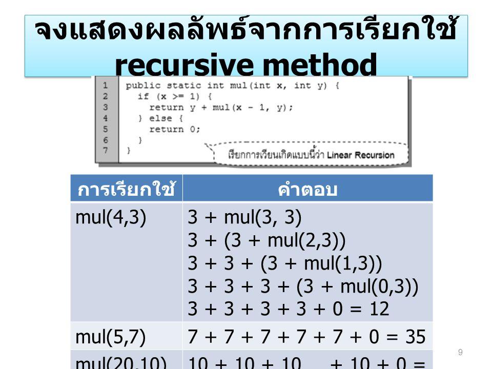 จงแสดงผลลัพธ์จากการเรียกใช้ recursive method