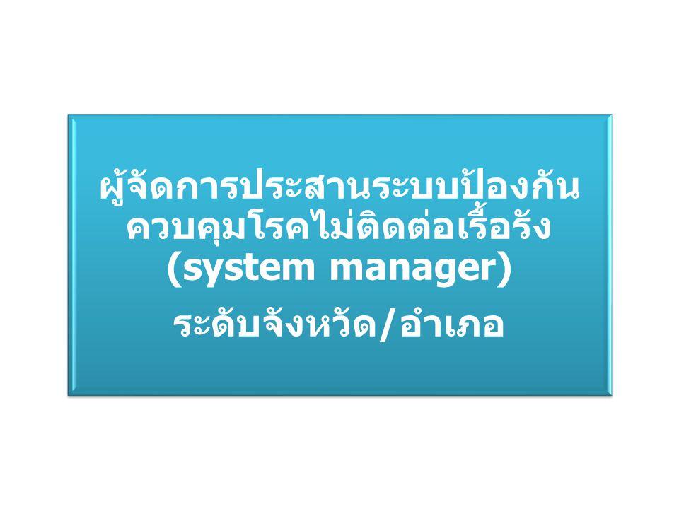 ผู้จัดการประสานระบบป้องกันควบคุมโรคไม่ติดต่อเรื้อรัง(system manager)