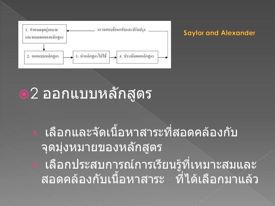 Saylor and Alexander 2 ออกแบบหลักสูตร