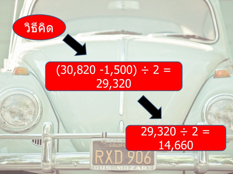วิธีคิด (30,820 -1,500) ÷ 2 = 29,320 29,320 ÷ 2 = 14,660