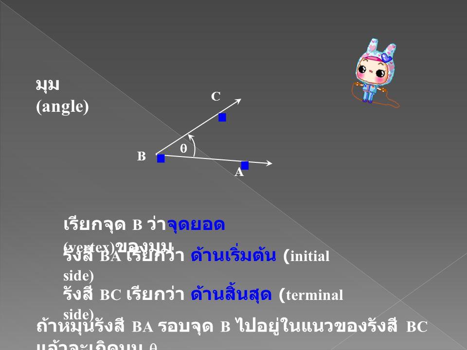 . มุม (angle) เรียกจุด B ว่าจุดยอด (vertex)ของมุม