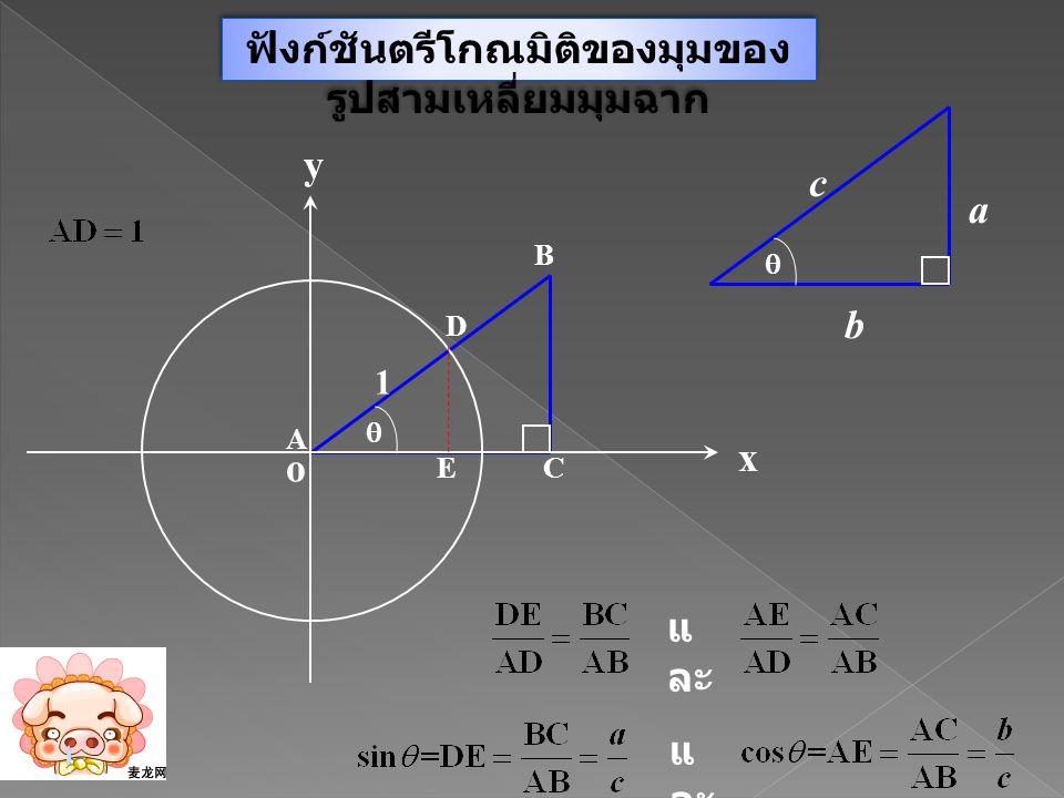 ฟังก์ชันตรีโกณมิติของมุมของรูปสามเหลี่ยมมุมฉาก