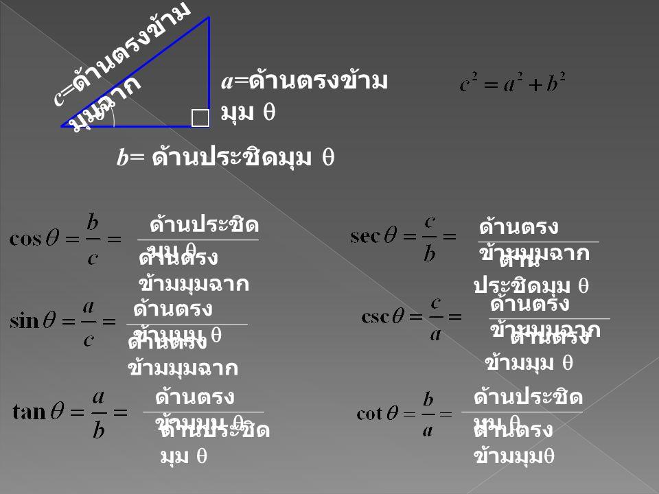 c=ด้านตรงข้ามมุมฉาก a=ด้านตรงข้ามมุม  b= ด้านประชิดมุม 