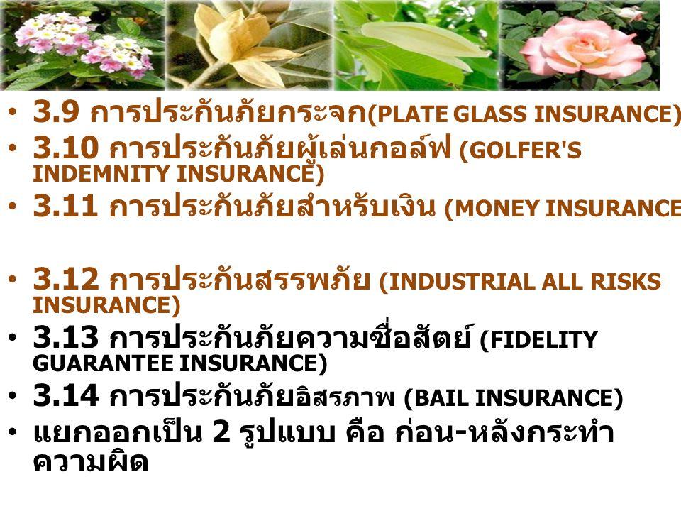 3.9 การประกันภัยกระจก(PLATE GLASS INSURANCE)