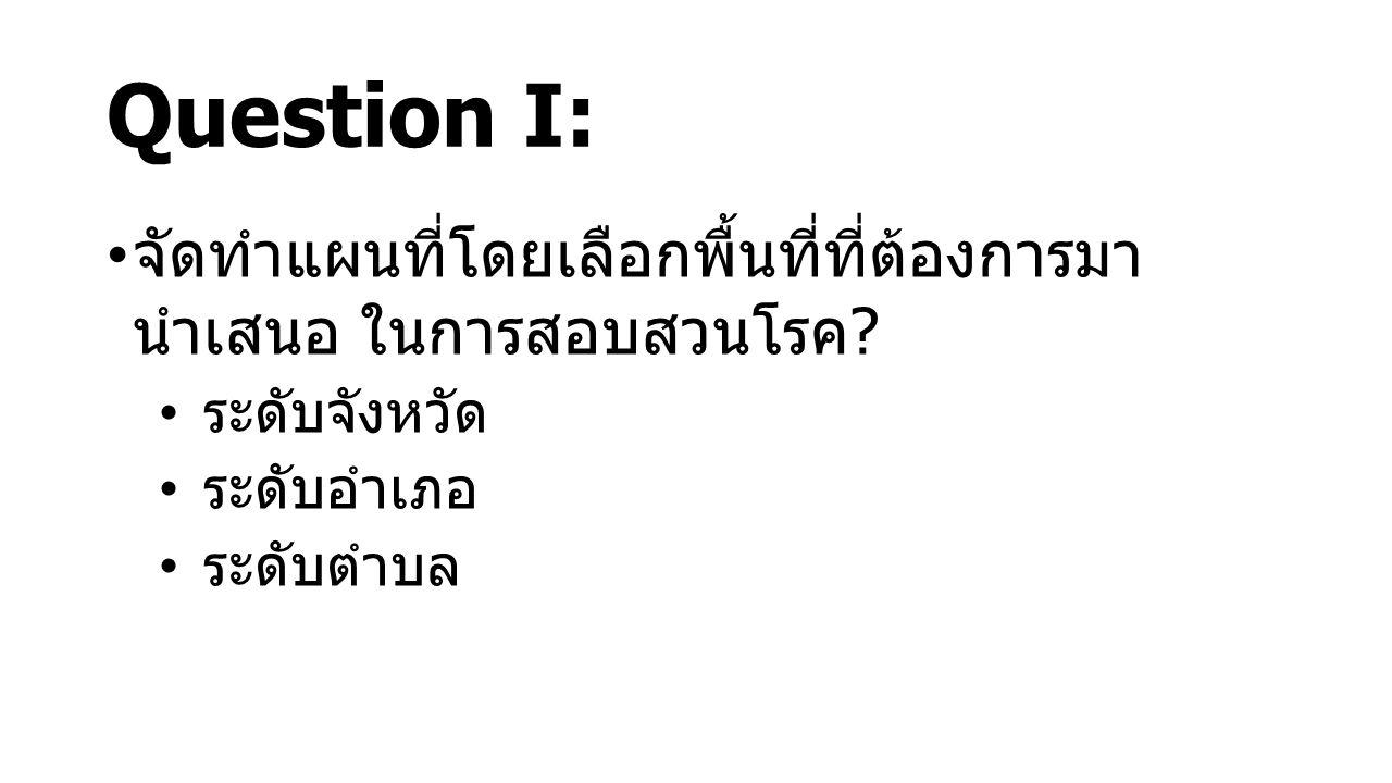 Question I: จัดทำแผนที่โดยเลือกพื้นที่ที่ต้องการมา นำเสนอ ในการสอบสวนโรค ระดับจังหวัด. ระดับอำเภอ.