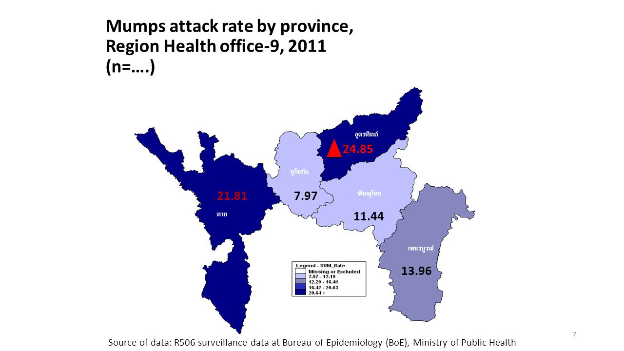 Mumps attack rate by province, Region Health office-9, 2011 (n=….)