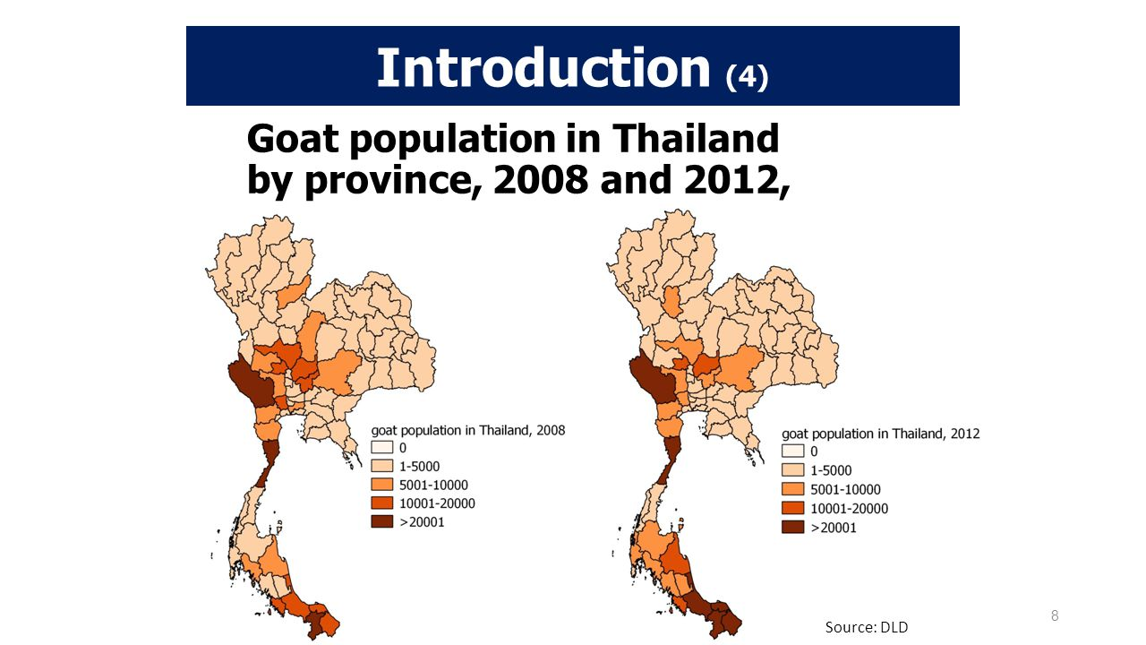 Goat population in Thailand by province, 2008 and 2012,