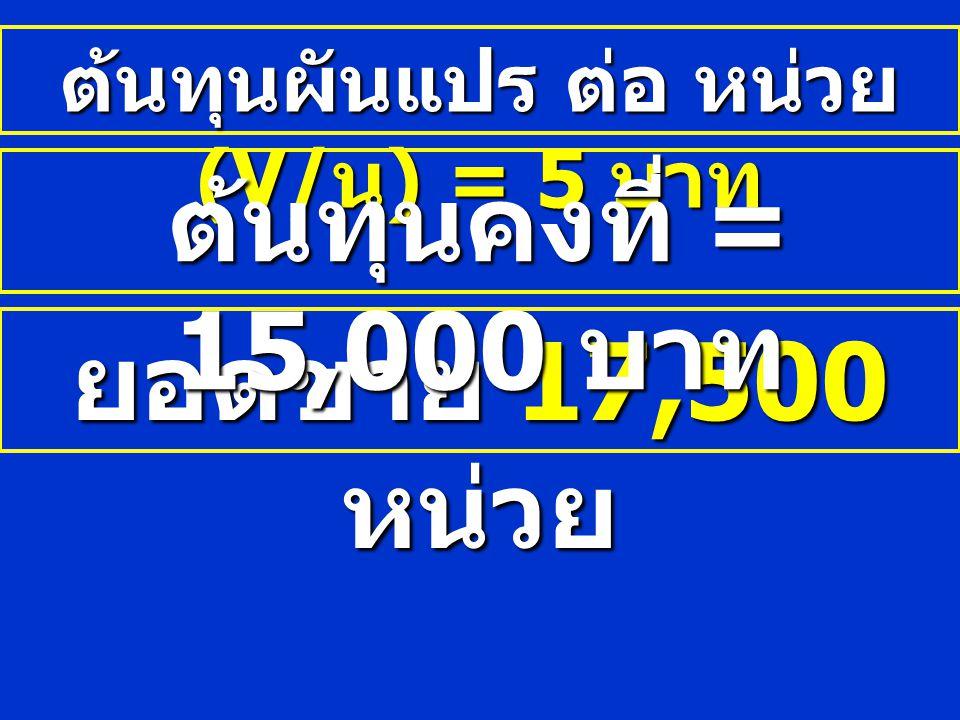 ต้นทุนผันแปร ต่อ หน่วย (V/น) = 5 บาท