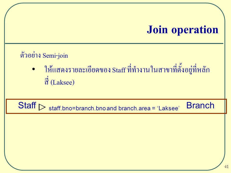 Staff staff.bno=branch.bno and branch.area = 'Laksee' Branch
