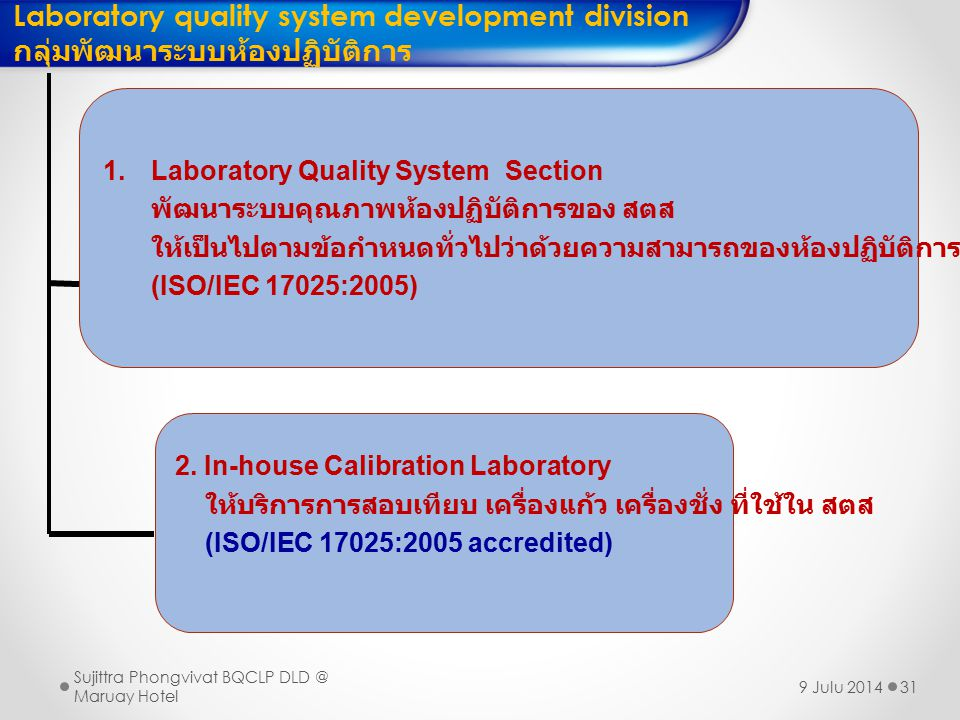 Laboratory quality system development division
