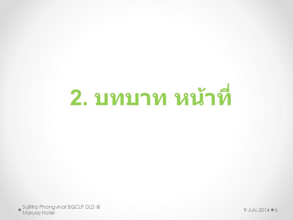 2. บทบาท หน้าที่ Sujittra Phongvivat BQCLP DLD @ Maruay Hotel