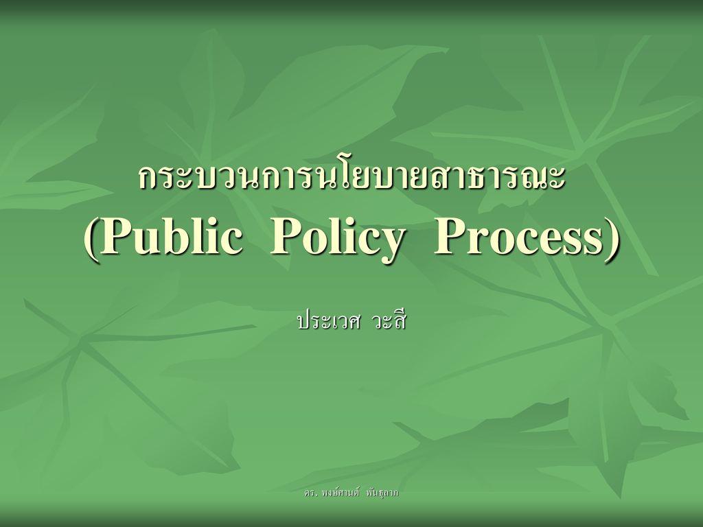 กระบวนการนโยบายสาธารณะ (Public Policy Process)