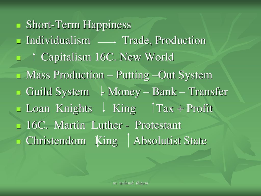 Individualism Trade, Production Capitalism 16C. New World