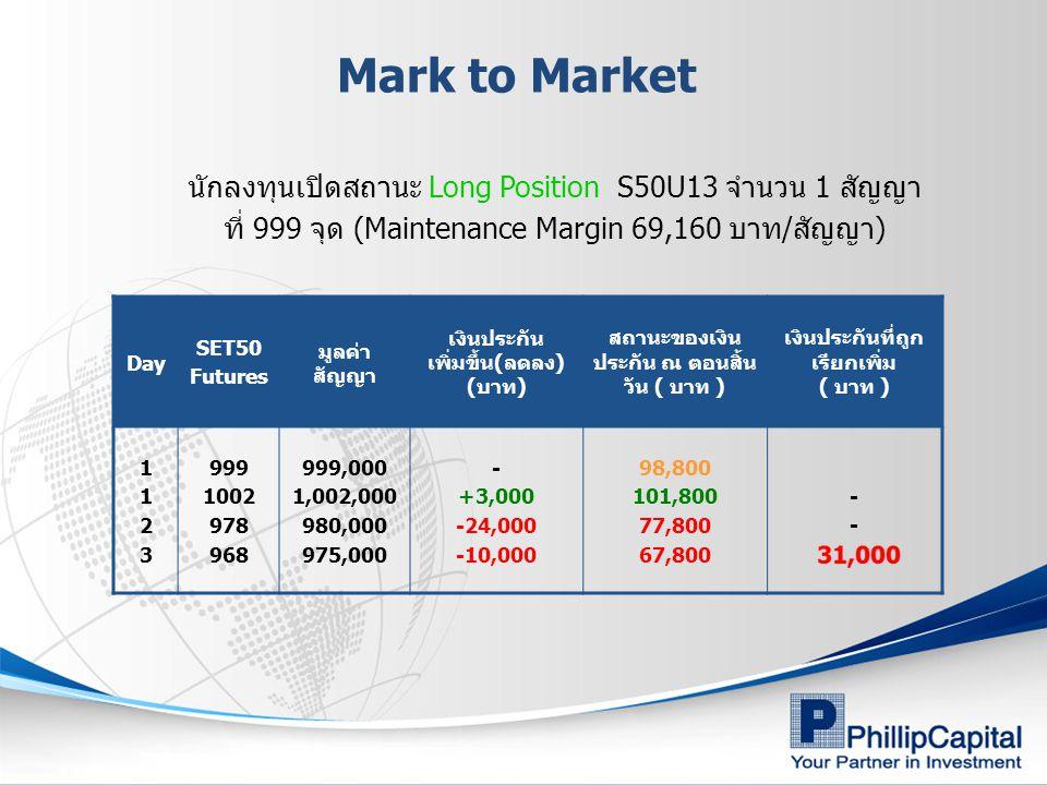 Mark to Market นักลงทุนเปิดสถานะ Long Position S50U13 จำนวน 1 สัญญา