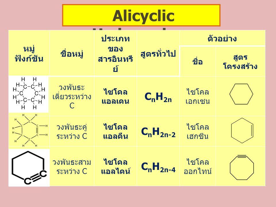 Alicyclic Hydrocarbon ประเภทของสารอินทรีย์