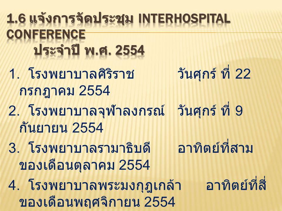 1.6 แจ้งการจัดประชุม Interhospital Conference ประจำปี พ.ศ. 2554