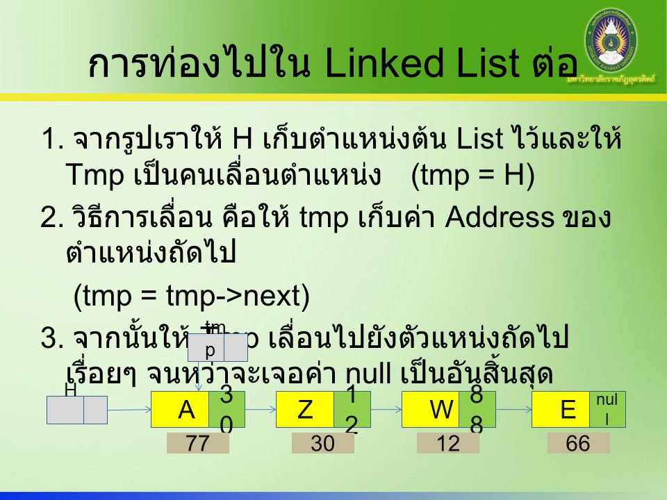 การท่องไปใน Linked List ต่อ