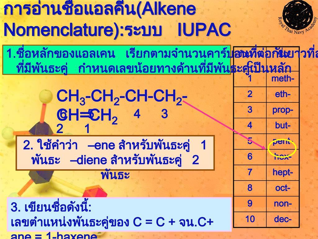 การอ่านชื่อแอลคีน(Alkene Nomenclature):ระบบ IUPAC