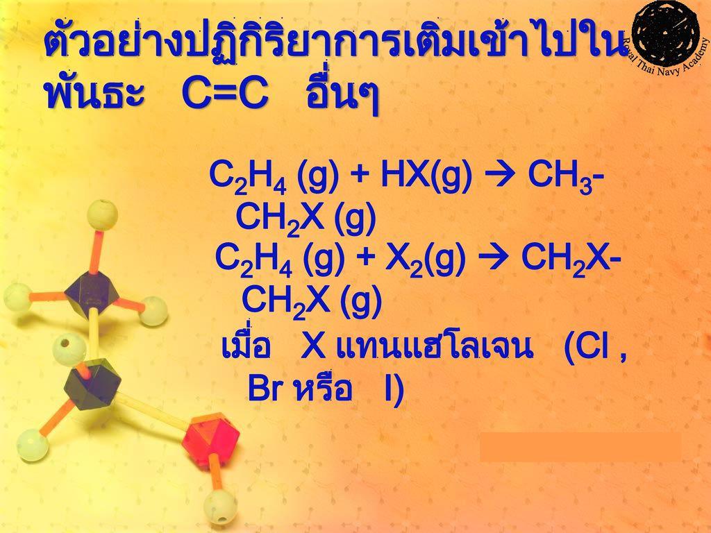ตัวอย่างปฏิกิริยาการเติมเข้าไปในพันธะ C=C อื่นๆ