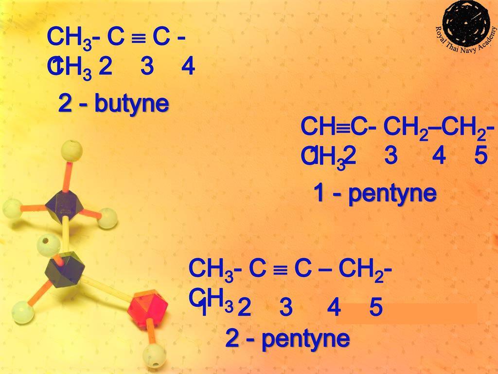 CH3- C  C - CH3 1 2 3 4. 2 - butyne. CHC- CH2–CH2-CH3. 1 2 3 4 5. 1 - pentyne.