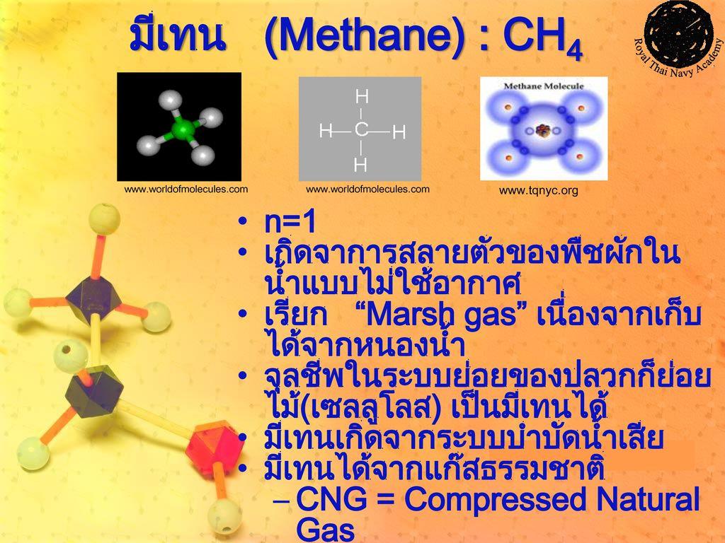 มีเทน (Methane) : CH4 n=1 เกิดจาการสลายตัวของพืชผักในน้ำแบบไม่ใช้อากาศ