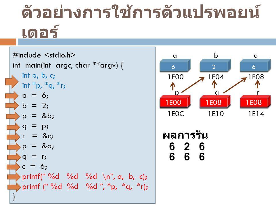 ตัวอย่างการใช้การตัวแปรพอยน์เตอร์