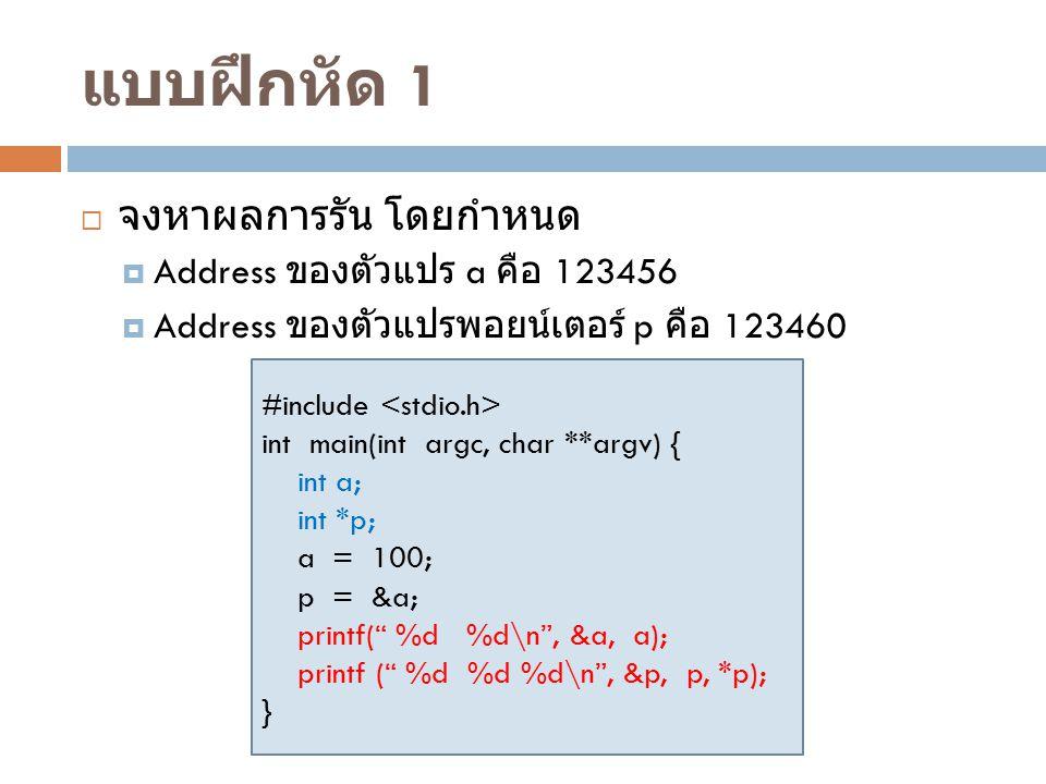 แบบฝึกหัด 1 จงหาผลการรัน โดยกำหนด Address ของตัวแปร a คือ 123456