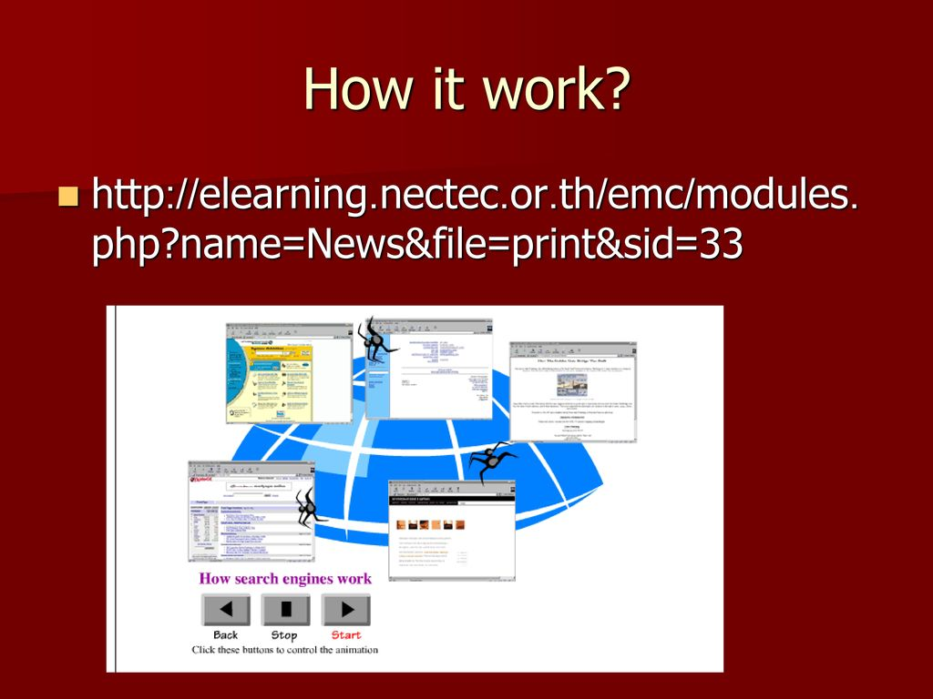 How it work http://elearning.nectec.or.th/emc/modules.php name=News&file=print&sid=33