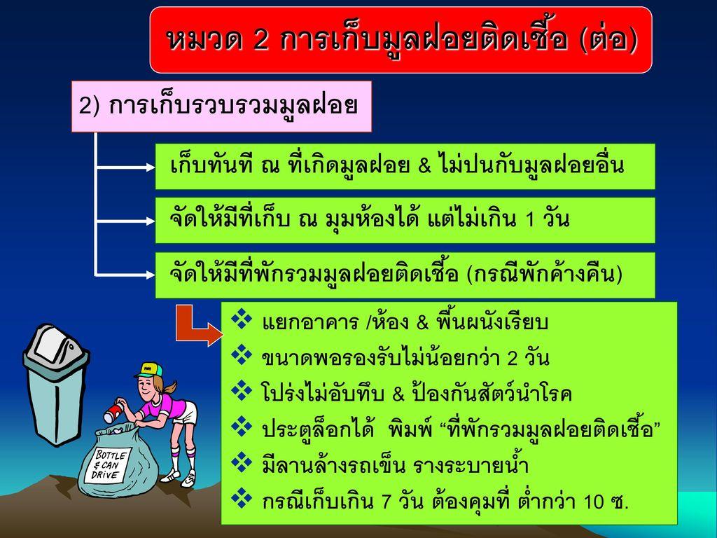 2) การเก็บรวบรวมมูลฝอย