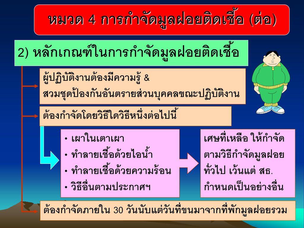 2) หลักเกณฑ์ในการกำจัดมูลฝอยติดเชื้อ