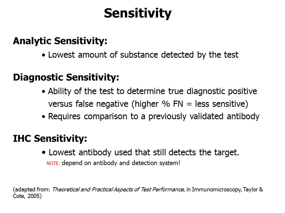 Sensitivity Analytic Sensitivity: