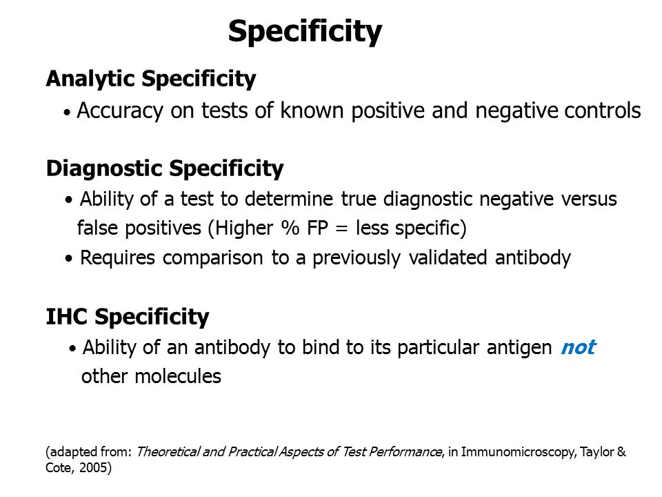 Specificity Analytic Specificity Diagnostic Specificity