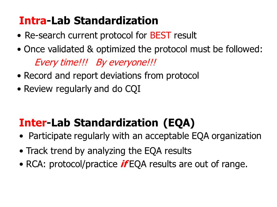 Intra-Lab Standardization