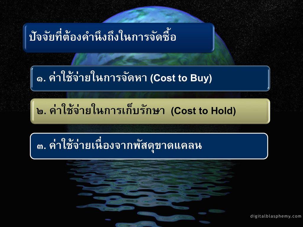 ๑. ค่าใช้จ่ายในการจัดหา (Cost to Buy)