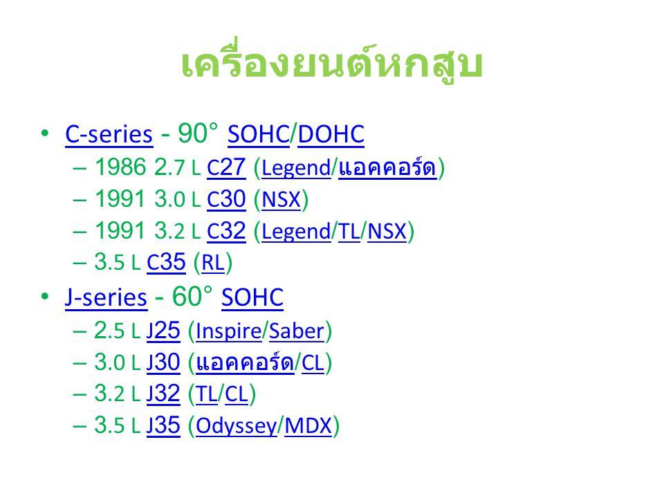 เครื่องยนต์หกสูบ C-series - 90° SOHC/DOHC J-series - 60° SOHC