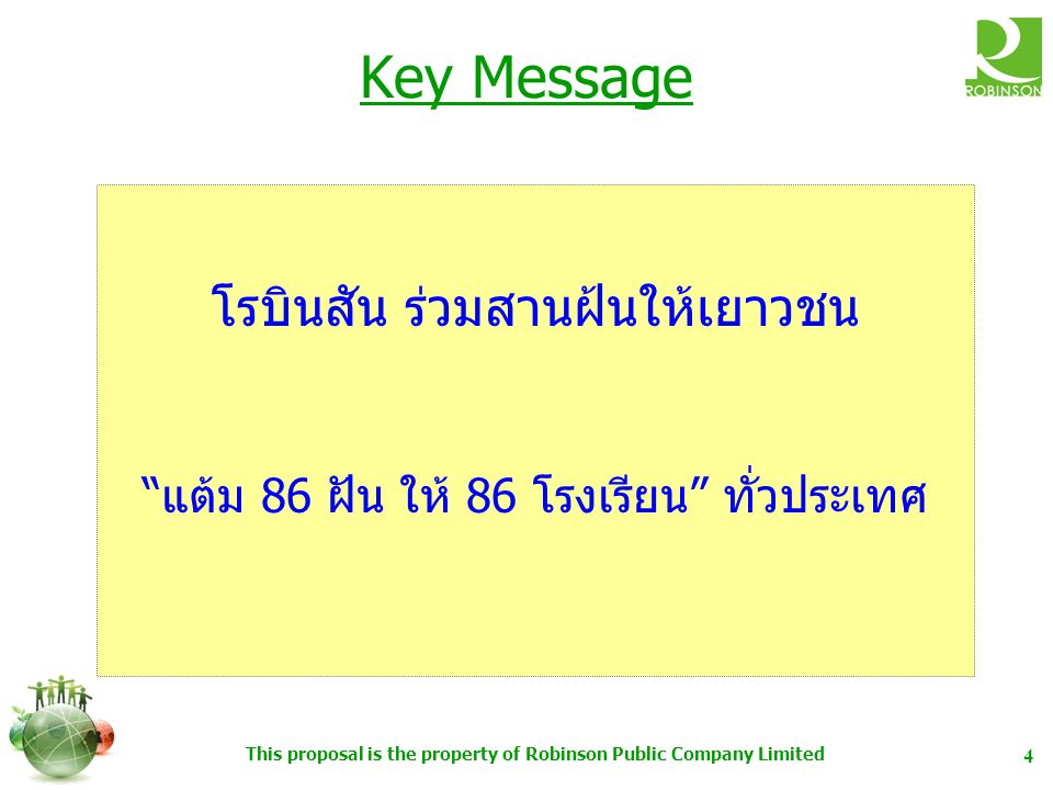Key Message โรบินสัน ร่วมสานฝ้นให้เยาวชน