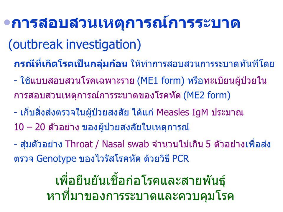 การสอบสวนเหตุการณ์การระบาด (outbreak investigation)