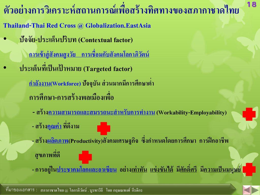 ตัวอย่างการวิเคราะห์สถานการณ์เพื่อสร้างทิศทางของสภากาชาดไทย