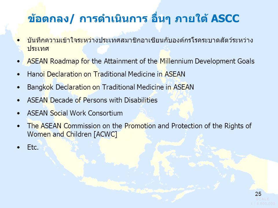 ข้อตกลง/ การดำเนินการ อื่นๆ ภายใต้ ASCC