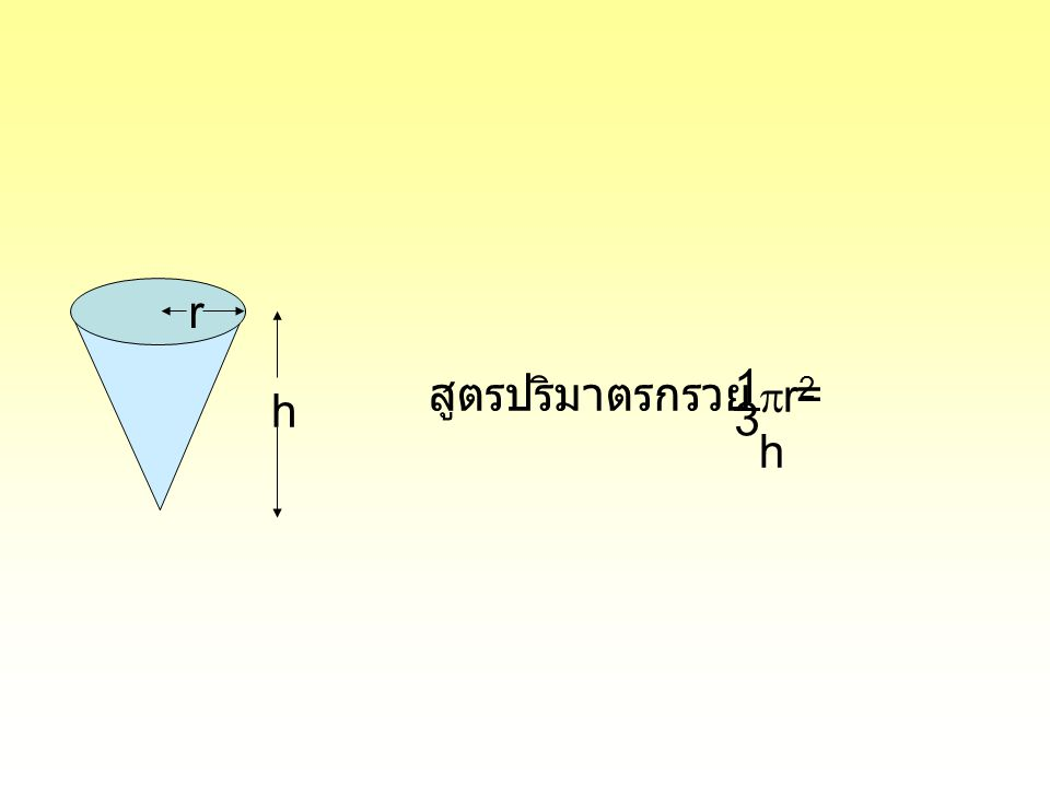 r 1 สูตรปริมาตรกรวย = r2h h 3
