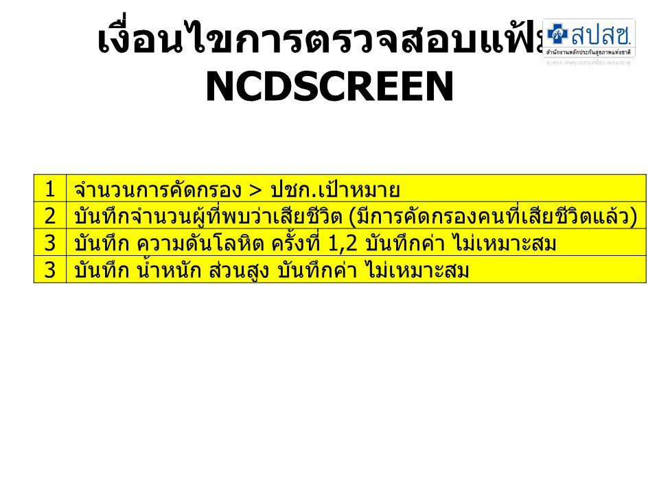 เงื่อนไขการตรวจสอบแฟ้ม NCDSCREEN