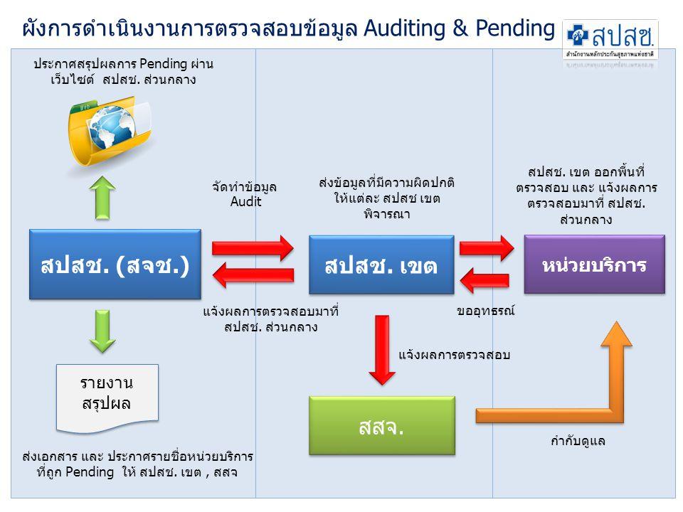 ผังการดำเนินงานการตรวจสอบข้อมูล Auditing & Pending