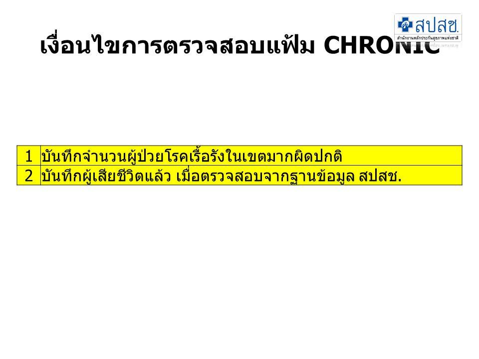 เงื่อนไขการตรวจสอบแฟ้ม CHRONIC