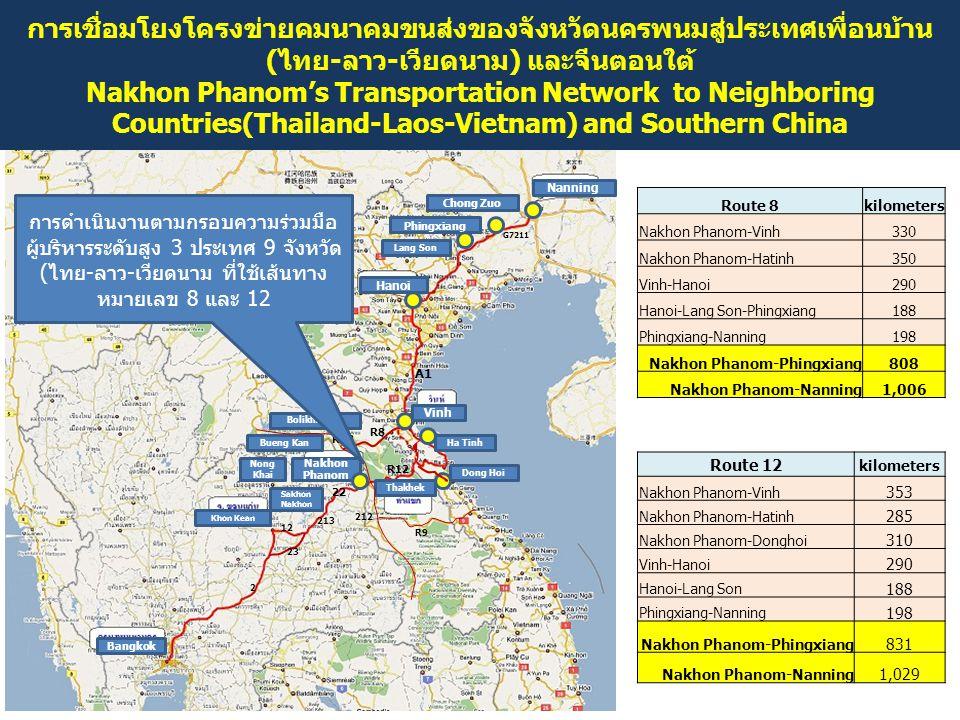 การเชื่อมโยงโครงข่ายคมนาคมขนส่งของจังหวัดนครพนมสู่ประเทศเพื่อนบ้าน(ไทย-ลาว-เวียดนาม) และจีนตอนใต้ Nakhon Phanom's Transportation Network to Neighboring Countries(Thailand-Laos-Vietnam) and Southern China