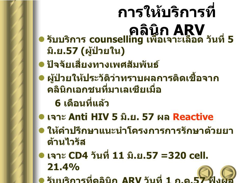 การให้บริการที่คลินิก ARV