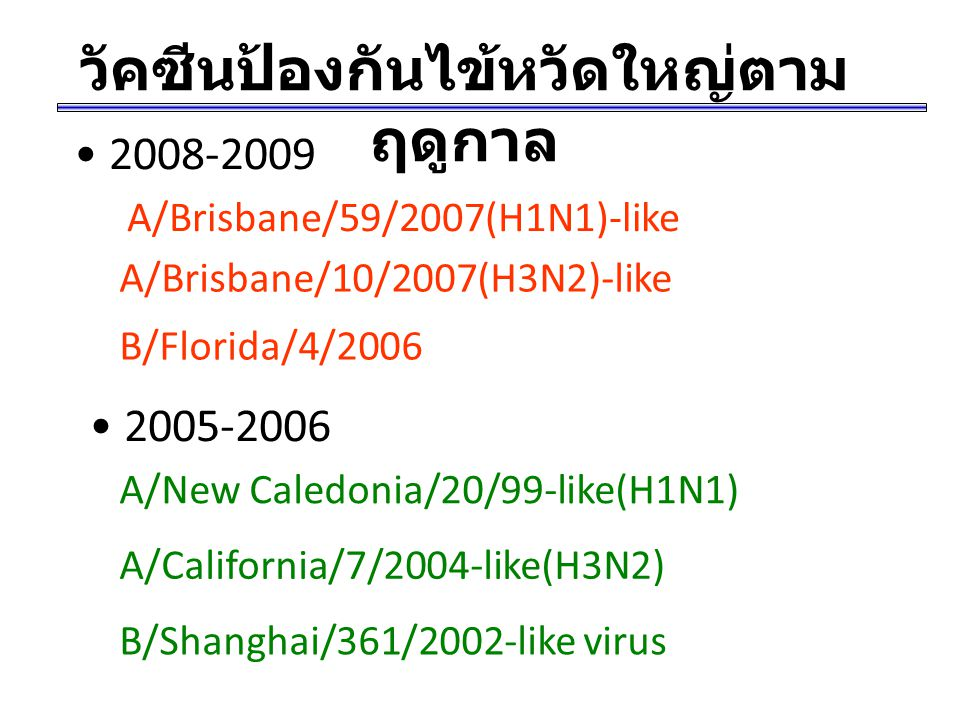 วัคซีนป้องกันไข้หวัดใหญ่ตามฤดูกาล