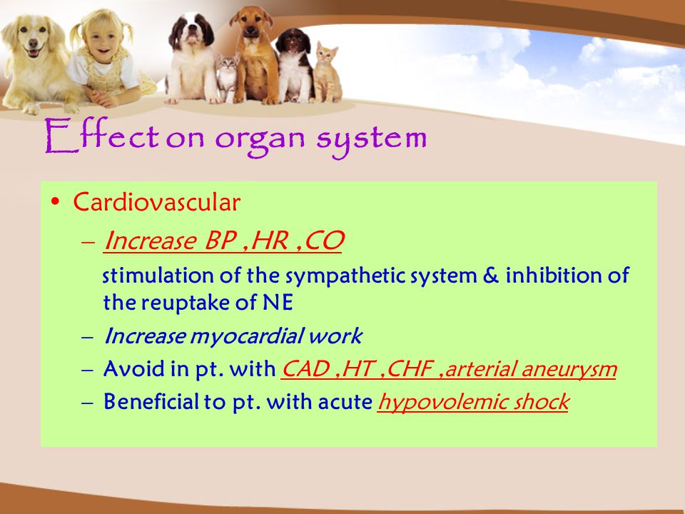 Effect on organ system Cardiovascular Increase BP ,HR ,CO