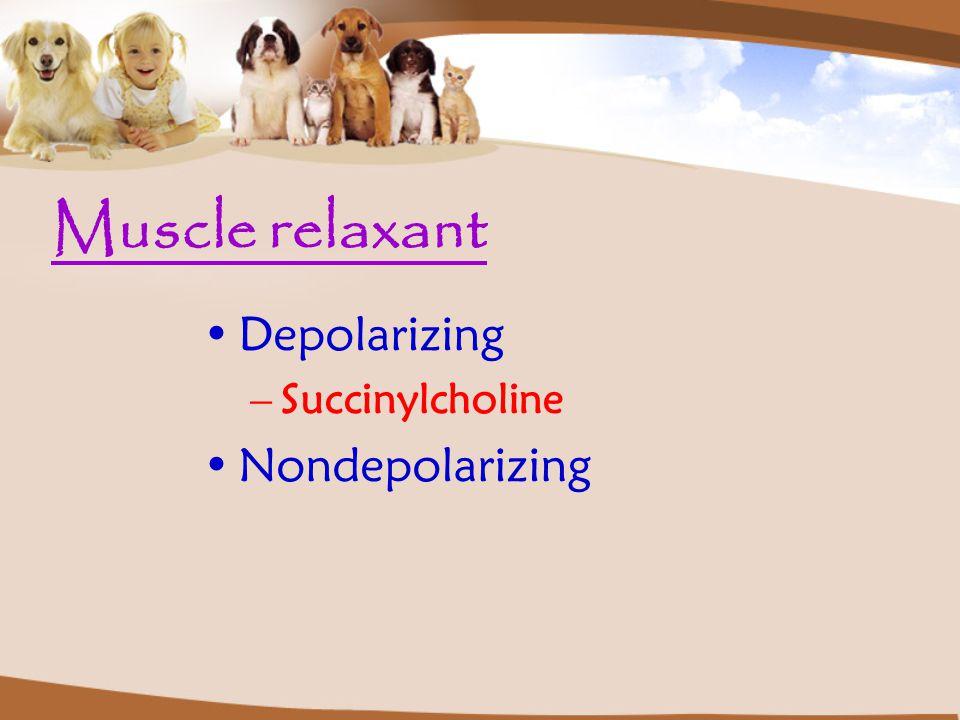 Muscle relaxant Depolarizing Succinylcholine Nondepolarizing