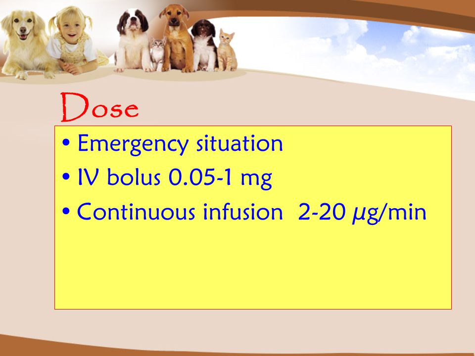 Dose Emergency situation IV bolus 0.05-1 mg